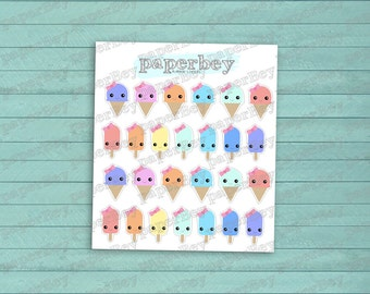Cute Kawaii Ice Cream and Popsicle Planner Stickers