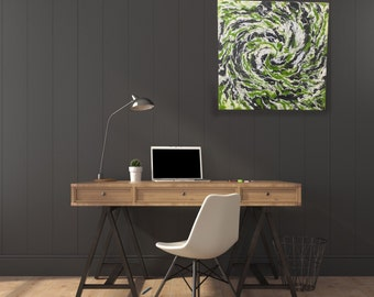 """ORIGINAL Painting - """"With a Twist"""" - abstract acrylic painting - experimental - inventive techniques"""