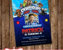 SALE Skylanders Invitation Card Party Invitation Birthday Card LL-0126