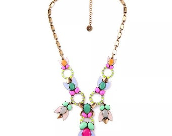 Statement necklace, Bib necklace, Colorful necklace, Fashion necklace