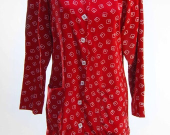 80s red pattern button up dress