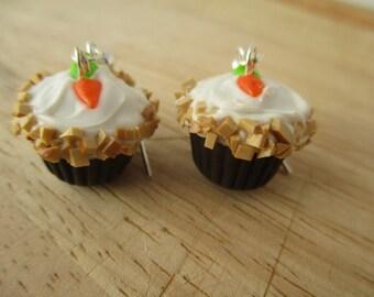 Carrot Cake Cupcake Earrings, Handmade Polymer Clay Kawaii