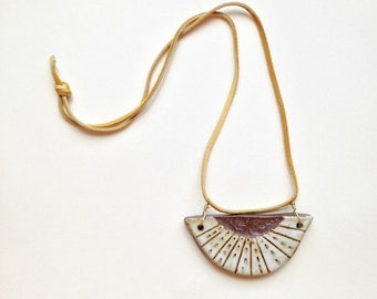 Ceramic Etched Pendant Necklace Buckskin Cord