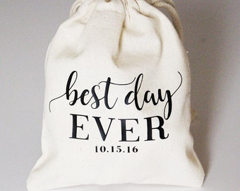 Personalized Wedding Favor Bag // Best Day Ever 5x6 or 8x10 / Wedding Guest Favor Bag / Wedding Shower Favor Bag