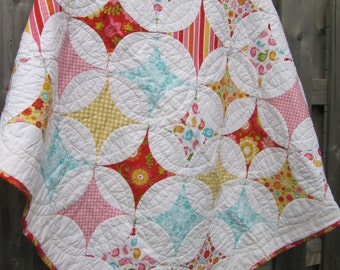 Custom quilt - patchwork quilt - cathedral window quilt - orange peel quilt - homemade quilt - twin quilt- crib quilt - full quilt