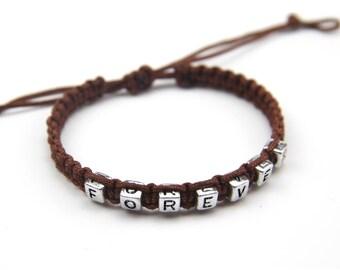 Forever Bracelets, Custom Wording, Beaded Heart Macrame Bracelets, Matching Couples Bracelets, Boyfriend Girlfriend Bracelets, Bff Bracelets