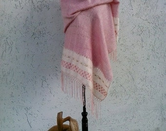 Stola love knot, silk and mohair, hand-woven