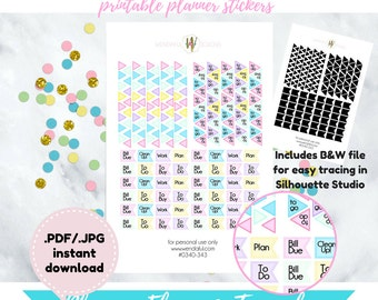 Item #0340-343 Planning Flags & Triangles Stickers Set Printable(perfect for planners)