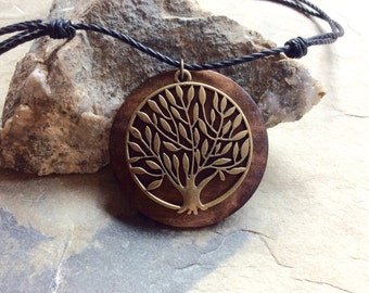 Tree of life necklace,cotton sliding knot necklace, wood and brass tree of life, necklace on cotton  cord,wood and  brass  necklace