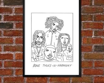 Badly Drawn Bone Thugs-n-Harmony - Hip Hop Poster