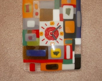 Hand-made colourful glass fused wall clock