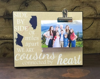 Personalized frame, Cousins Frame, States, Side By Side or Miles Apart, Housewarming Gift, Christmas Gift, Thinking of You Gift