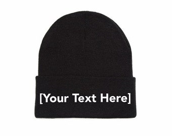 Custom Beanie, Custom Beanies, Custom Embroidered Beanie, Custom Beanie Hat, Black
