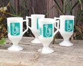 Vintage Milk Glass Turquoise Rooster Orange Juice Cups - Danish MidCentury Farmhouse Modern Mugs