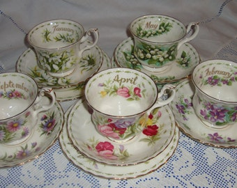 SOLD  Royal Albert Flower Of The Month Trios / Duos