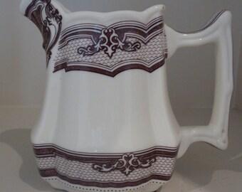 TWO'S COMPANY Brown Transferware Pitcher Ceramic Pottery Creamer Gravy Boat