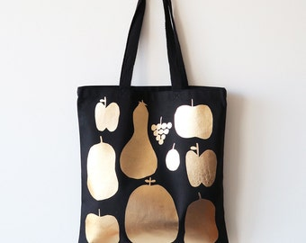 Gold Fruits Black Canvas Tote Bag