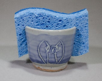 Blue on Pale Blue Stoneware Sponge Holder with Owl Designs