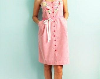 Cotton summer dress with floral print applications Summer sundress