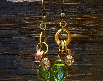 Vintage and Glass Bead & Brass Earrings