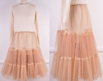 50s 60s Pleated Blush Tulle Petticoat With Lace Trim