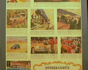 1952 Studebaker 100th Anniversary Car Ad Matted Vintage Print