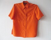 80's Vintage Women's Silk Blouse Bright Orange Short Sleeve Summer Shirt Silk Button up Womens Top Hipster Chemise Size Large To XL Large