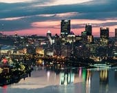 Pittsburgh and Heinz Field  at Sunrise Panormaic Print
