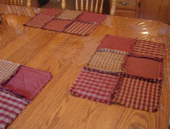 Set Of 6 Red Homespun Rag Placemats Rag Quilt Placemat Set