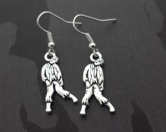 Zombie Earrings, Silver Zombie Earrings, Undead Earrings, Zombie Jewellery, Horror Jewelry, Zombie Accessory, Undead Jewellery, Gothic Gift