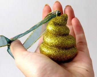 reindeer poop ornament - poop ornament - christmas gag gift - christmas tree ornament - polymer clay poop - glitter poop - magical poop