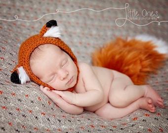 Newborn Fox Bonnet - Fox Hat - Newborn Prop - Newborn Fox Prop - Baby Fox Hat - Baby Photo Props - Photography Props - Woodland Theme Prop
