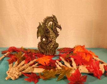 Small Ceramic Dragon Sitting on Feet Figurine