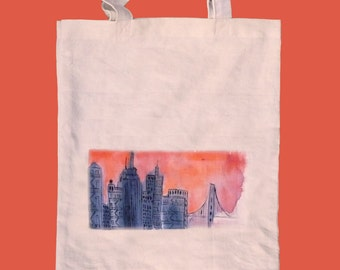 Sunset skyline tote / natural cotton tote / sunset market bag / gift under 20/ Summer tote