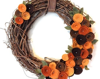 Fall Grapevine Wreath-Fall Door Wreath-Autumn Wreath-Wool Felt Flowers-Fall Felt Wreath-Rustic Fall Wreath-Felt Flower Wreath-Grapevine Door