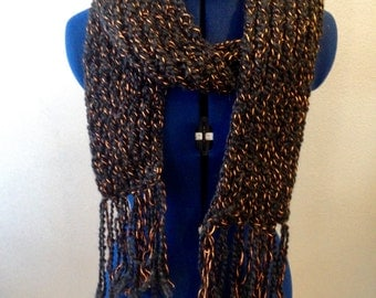 Black and Metallic Copper Scarf