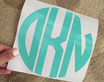 6 inch Circle Vinyl Monogram Decal (customizable with letters and color)