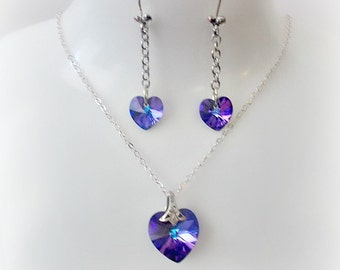 Swarovski Heart Necklace Earring Set Sterling Silver Heliotrope Heart  Pendant / Valentine's Day / Birthday Gift / Bridal Party Gift
