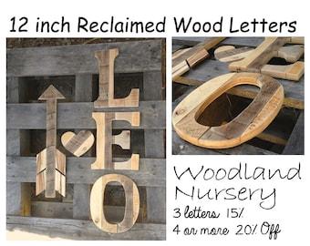rustic wood nursery letters 12 tallrustic lettersbaby roomnewbornreclaimed woodwoodland nurserywooden lettersrustic nursery