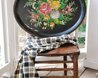 FREE SHIPPING!! - Vintage Hand Painted Tole Tray - Romantic Cottage Toleware - Large Shabby Floral Serving Tray - French Country Dining Room