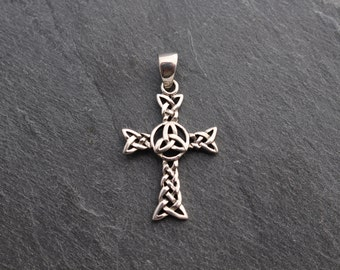 Cross with Celtic Trinity Knot  -  Sterling Silver Pendant.