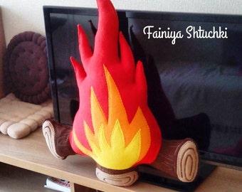 Bonfire - Rustic Fire Pillow - Home Decor - Campfire - Red Pillow