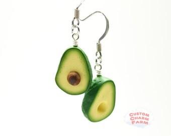 Avocado Earrings dangle and drop - BACON variety- Tiny Miniature Food Jewelry