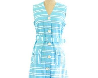 60's MOD Teal + White Stripe Mini Shift Dress Belted