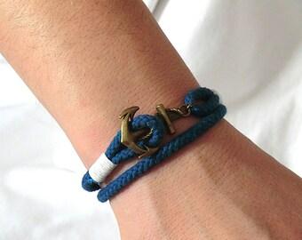 Anchor Bracelet Anchor Rope Bracelet Nautical Bracelet for men Anchor Jewelry Nautical Jewelry Anchor charm  Gift for her Gift for him