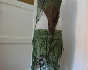 RESERVED forest fairy, tattered nymph wrap top, psy