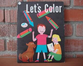 Vintage Childrens Coloring Book 1956 Unused Lets Color Kids