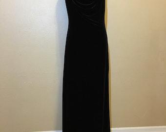 Vintage Black Velvet Prom Dress