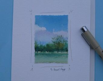 handmade notecard, original watercolor landscape painting