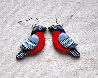 Bullfinch earrings, Bird jewelry, Red Bird earrings, Winter earrings, Bullfinch jewelry, Winter jewelry, Christmas gift FREE SHIPPING